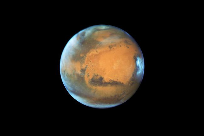 The planet Mars seen by the Hubble Space Telescope.