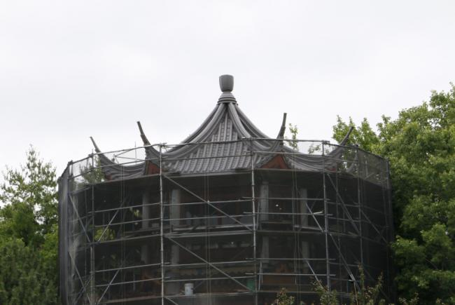 Renovations on the Chinese Garden – Summer 2017 -  Restoration of the Tower of Condensing Clouds