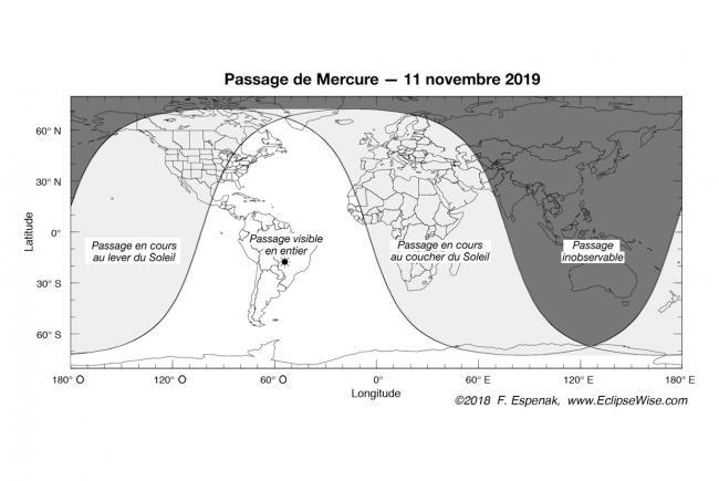 Carte de visibilité du passage de Mercure