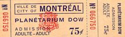 Billet du Planétarium Dow de 1967