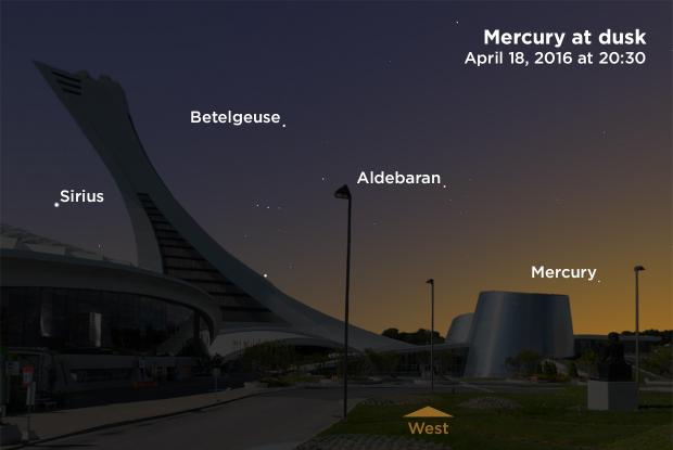 Mercury at dusk, April 18, 2016 at 20:30