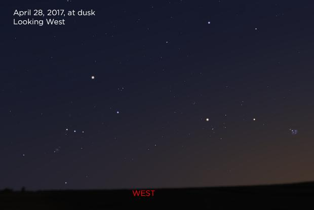 Mars near the Hyades and the Pleiades, April 28, 2017