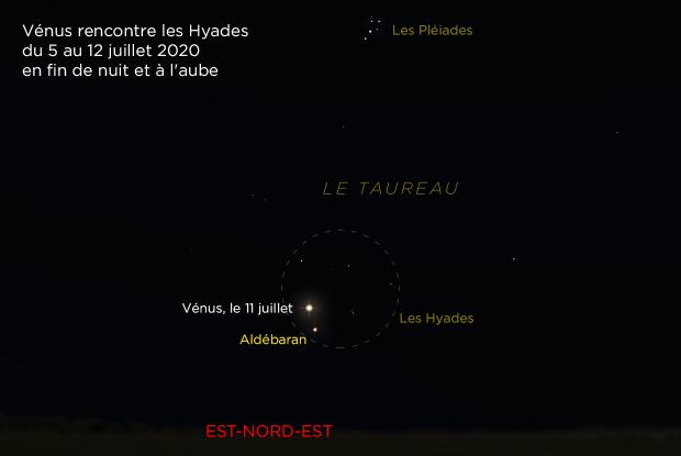 Vénus près d'Aldébaran dans les Hyades de 11 juillet 2020