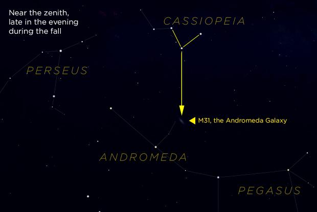M31 and Cassiopeia (annotated finding chart)