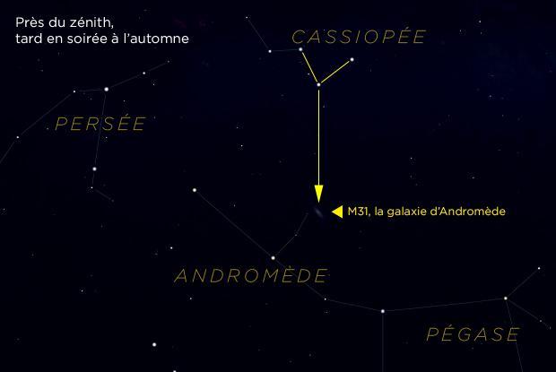 M31 et Cassiopée (carte de repérage annotée))