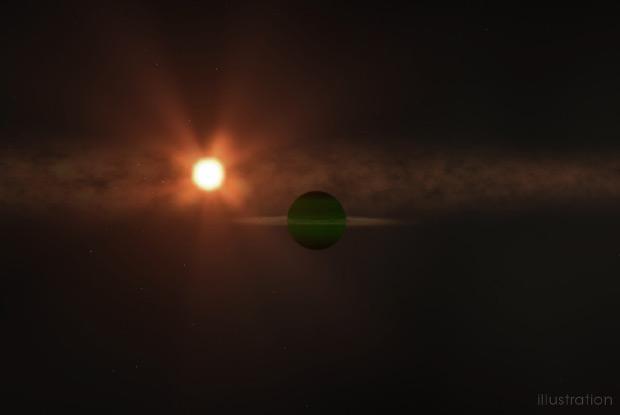 Représentation artistique de la planète (au premier plan) et de son étoile (en arrière-plan). Source Goddard Space Flight Centre de la NASAChris Smith (USRA).