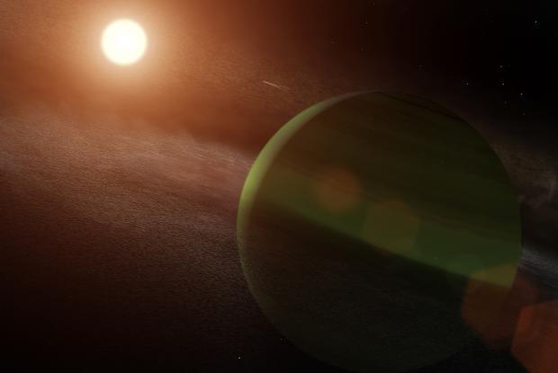 Une vue d'artiste de l'exoplanète AU Mic b, qui a récemment été découverte autour d'une étoile très jeune. L'étoile est si jeune qu'elle a encore un grand disque de débris résultant de l'époque de formation des exoplanètes, ce qui est très rare.