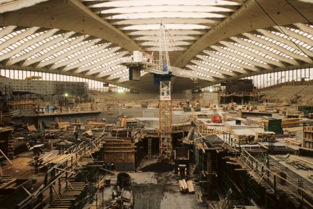 Construction of the Biodôme.