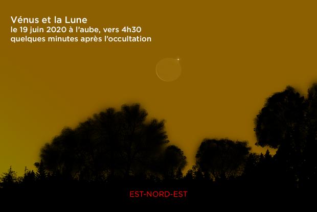 Vénus et la Lune le 19 juin 2020 à l'aube