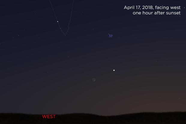 The Moon, Venus, Pleiades and Hyades 20180417