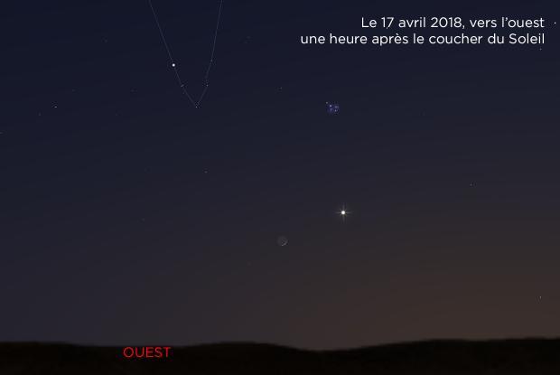Lune, Vénus, Hyades et Pléiades 20180417