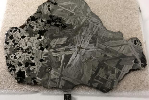 Seymchan meteorite (acquired in October 2019), 672 grams, 23 cm x 17.2 cm x 0.4 cm, Pallasite and Iron (IIE), discovered in Russia in 1967.