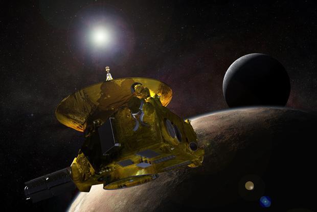 Vue d'artiste de la sonde New Horizons survolant Pluton et sa principale lune, Charon.