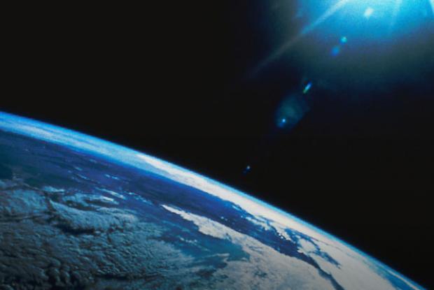 Planète Terre et étoile vues de l'espace