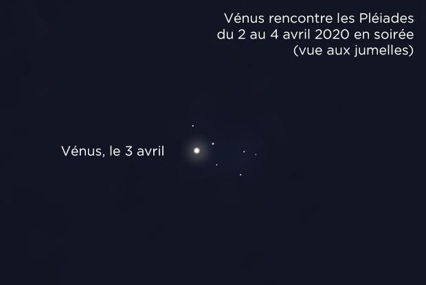 Vénus et les Pléiades le 3 avril 2020