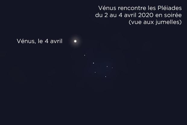 Vénus et les Pléiades le 4 avril 2020