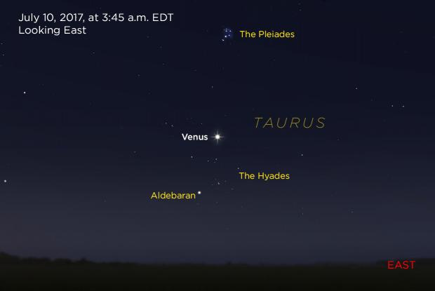 Venus between the Hyades and Pleiades 20170710 (annotated)