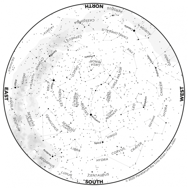 Monthly Sky map - May 2020
