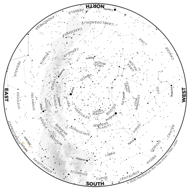 Monthly Sky map - June 2020