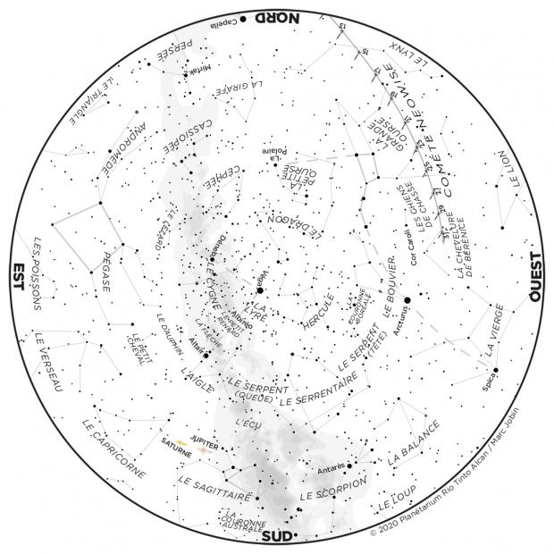 Ciel du mois - carte juillet 2020 + NEOWISE
