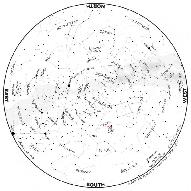 Monthly Sky map - November 2020