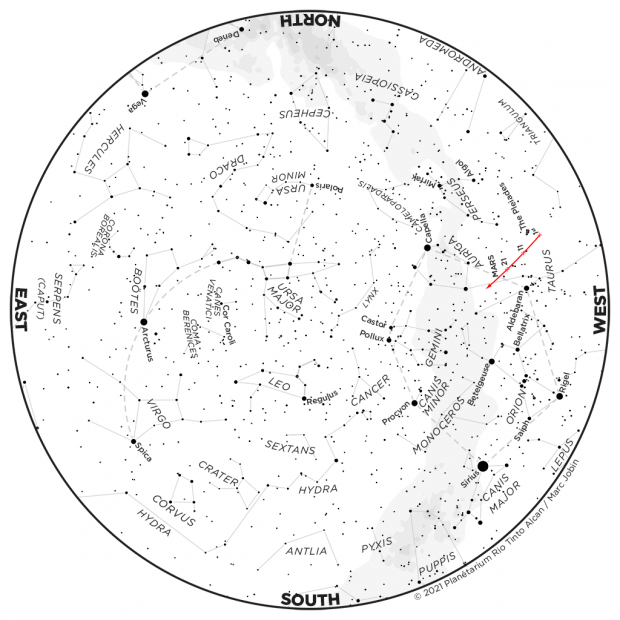 Monthly Sky map - March 2021