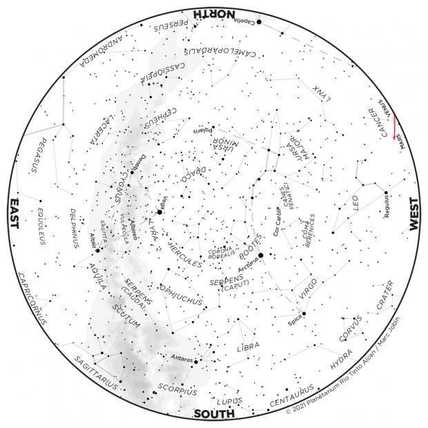 Monthly Sky map - June 2021