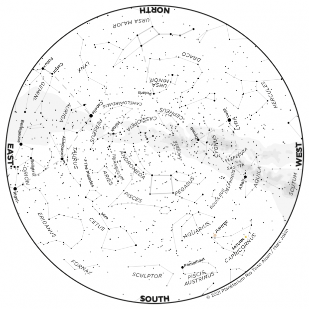 Monthly Sky map - October 2021