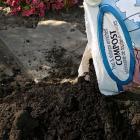 Du compost additionné de tourbe et de crevettes est ajouté à un jardin