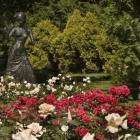 La sculpture La femme au collier au coeur de la Roseraie.